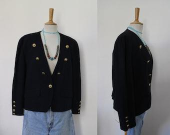 Suit jacket / black Blazer with shouldered Middle / BASLER / size 44, USA 14 / officer, sailor, Captain, military /Boutons gold / Vintage