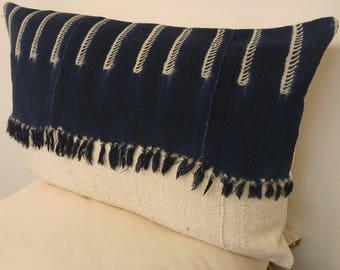 Charming Indigo and cream mudcloth pillow