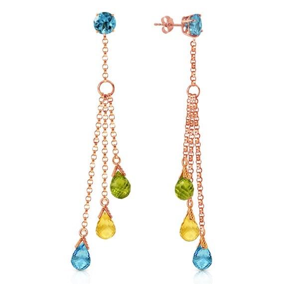 CHANDELIER Earrings  W/Blue Topaz ,CITRINE & Perido