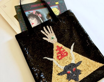 Big Ass Handmade Sequin Baphomet Tote Bag for Records and other big Items