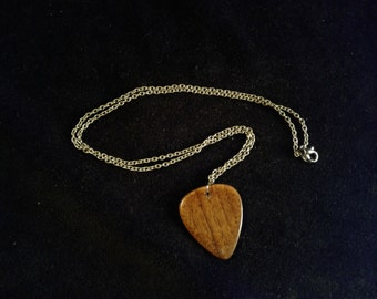 Walnut Guitar Pick Necklace gloss