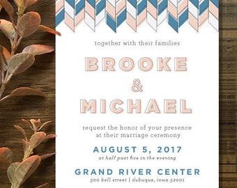 Custom Herringbone Pattern Wedding Invitation by Mabe Design Co. // Printable PDF // Professionally Printed // The Brooke