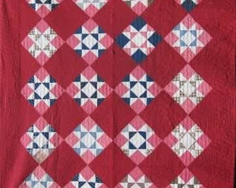 Vintage 'Ohio Star' 1880's Quilt/Hand Quilted Antique Twin Quilt #16906