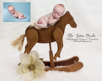 Newborn digital backdrop, newborn background, rocking horse, white background, cowboy background, boy background, girl background, country