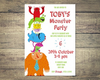 Personalized Monster Children's Birthday Party Invitation, Printable Invite, Monster, 5x7