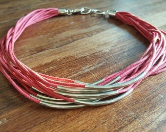 Red leather multiple strand necklace