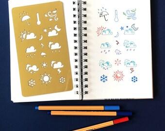 Planner Stencil, Bullet Journal Stencil, Weather Stencil, bullet journal accessories - fits A5 journal & Midori Regular (Weather)