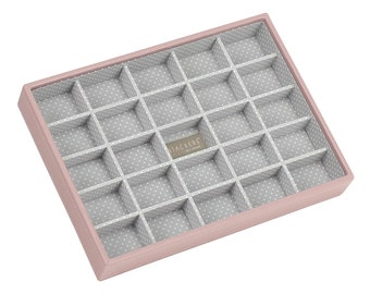 Stackers Soft Pink & Grey Spot Classic 25 Section Jewellery Tray LC70088