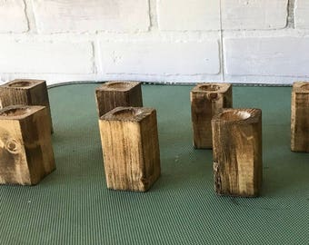 Rustic Wooden Candlestick Holders *set of 12*
