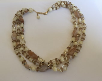 Vintage Mid Century Acrylic Bead Necklace, not signed Creams,Ambers