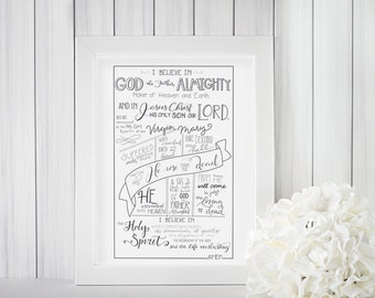 Apostle's Creed, poster,digital download, lutheran print, I believe in God printable