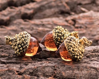 Handmade Acorn Necklace, Resin, Unique, Gold Toned, Amber, Nature, Nut, Fall, Oak, Tree, Autumn, Nickel Free, Lead Free