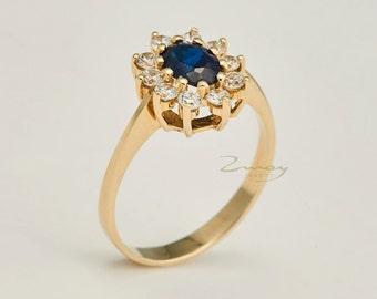 Oval Sapphire RingDiamond Ring Pave Halo Engagement