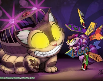 Catbus and Cheshire Cat - Color Art Print - 11 x 17 inch