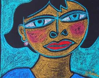 Strong Woman Oil Pastel Original drawing