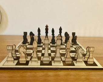 Chess Set, Home Decor, Laser Cut