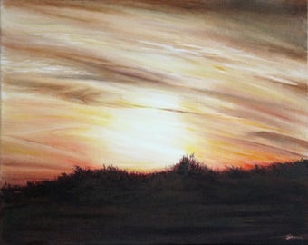 "Sunset on the marshes - Oil Painting - 40cm x 50cm Box canvas - 16""x20"" wall art"