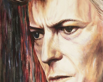 David Bowie Painting - Portrait Oil Painting - A3 (30 x 42cm / 12 x 16inch) mounted wall art