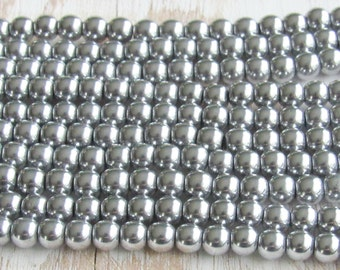 6mm silver Hematite, magnetic hematite, full strand, silver plated, 6mm round beads, jewelry supplies, mala beads, Jewelry supplies, beading