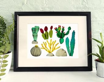 Desert plants / Cactus print / succulent illustration / A3 and A4 art print
