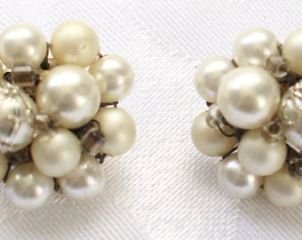 CE # 119 Vintage Silver Tone Cluster Clip On Earrings with Pearl-Like Beads and Silver Thread Detailing Marked Japan