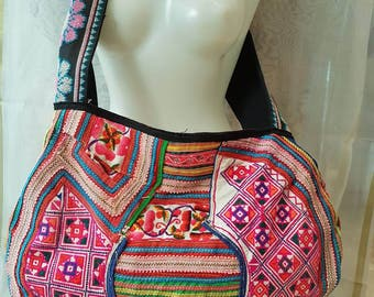 Large hmong ethnic bag, tribal bag with embroidery