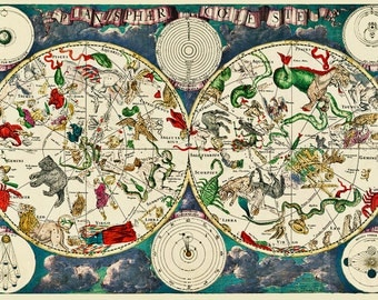 Zodiac Map Print, Celestial Sign Astronomy, Solar, Space, Star Systems, Fine Art Print, Cartography,  Frederik de Wit