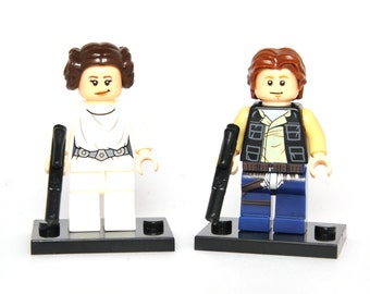 set Princess Leia Organa and Han Solo Star Wars Custom Minifigure Minifig Comics Compatible With Lego Blocks Bricks Building Toys