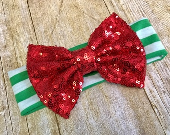 Christmas headband, messy bow headband, sparkle, bow, baby Christmas headband, christmas hesdband