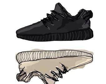 Adidas Yeezy boost  350 Kanye West- Pirate Black Oxford tan sneaker art print