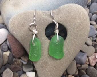 Found Lake Erie Green Beach Glass Drop Earrings