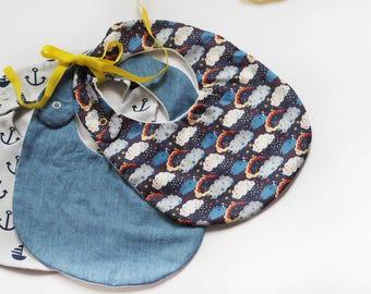 B I B S - Personalized bib set of 3 (6-18mths), Gift for babies, baby bib, girl bib , hand embroidery bibs, boy bib