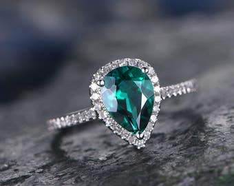 Green Emerald engagement ring 14k white gold-handmade Diamond ring-Tear Drop-8x6mm Pear cut gemstone promise ring-Gift for her-Lab Emerald