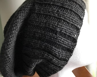 pure Australian wool | grey hand knit | slouchy beanie | gift for him or her
