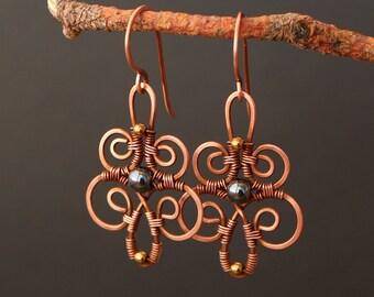Hematite Earrings - Copper Earrings - Copper Jewelry - Boho Earrings - Bohemian Jewelry - Wire Wrapped Earrings - Copper Wire Jewelry