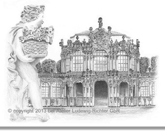 Wall Pavilion of the Dresden Zwinger - original signed art print