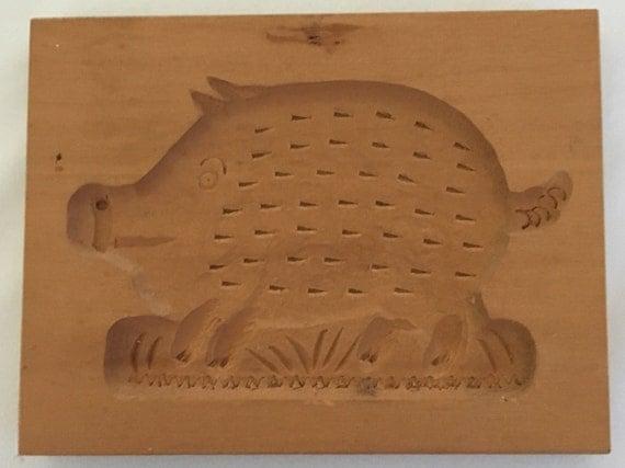 Springerle Vintage Hand-Carved Cookie/Paper Mold (East Germany) – Boar