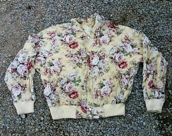 vintage 100 rayon full print roses jacket