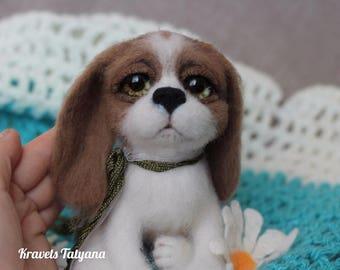 Needle felted Spaniel, felted puppy dog , felting toy, needle felted animals, wool figurine dog, handmade toy, soft sculpture, home decore
