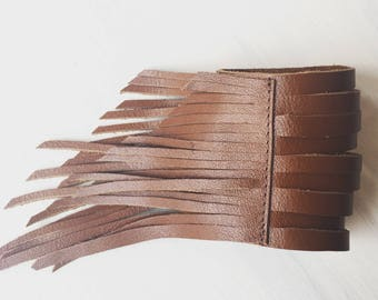 Free Spirit Leather Fringe Cuff