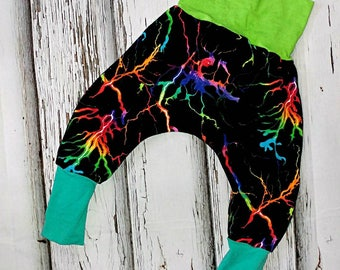 Sarouel harems evolutionary 6-24 month lightning storm night black multicolor fluorescent lightning flash