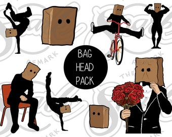 Bag Head Pack- Snarky Clipart for Crafters!  Make your own funny stickers and cards! Paper Bag Head