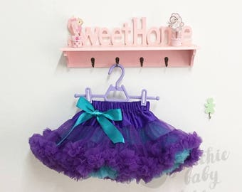 Purple and Aqua Pettiskirt for Girls, Party Deluxe Fluffy Chiffon Dress