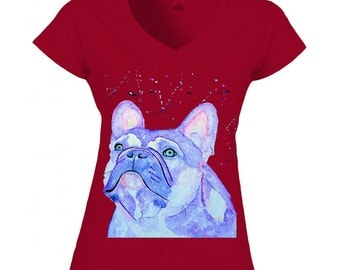 Lilac french bulldog vneck tshirt gift ideas for girlfriend or wife or best friend. Frenchie lover colorful women t-shirt. Dog print clothes
