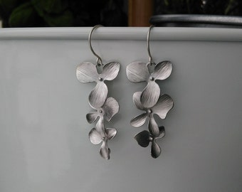 Dangle Earrings, Dangling Triple Flowers, Matte Silver Plated over Brass, perfect gift