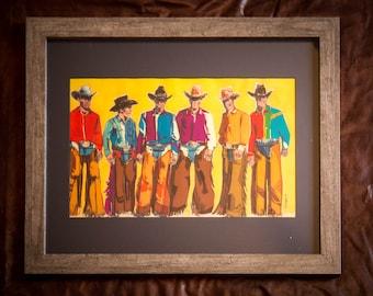Print Cowboy Art- Rustic Art- Western Art