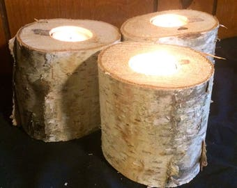Set of 3 white birch candle holders