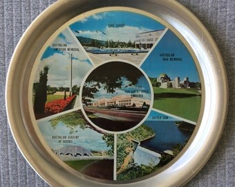 1970s Canberra ACT Platter 25cm dia Australiana Architecture Stainless Steel