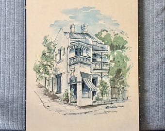 Watercolour Print Vinyl on Board Terrace Corner Shop Paddington Sydney by Neil Sullivan Architectural Art Building Australia