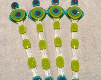 Fused glass swizzle sticks, set of 4